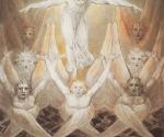 Уильям Блейк (1757–1827). Давид, извлекаемый из вод многих: «И воссел на Херувимов». Около 1805. Бумага, акварель, тушь, перо. 41,5 x 34,8. Галерея Тейт Бритен, Лондон