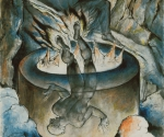 Уильям Блейк (1757–1827). Симония Папы. 1824–1827. Иллюстрация к «Божественной комедии» Данте. Бумага, акварель по рисунку карандашом, тушь, перо. 52,7 x 36,8. Галерея Тейт Бритен, Лондон