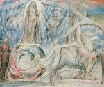 Уильям Блейк (1757–1827). Беатриче, восседающая на влекомой грифом колеснице. 1824–1827. Иллюстрация к «Божественной комедии» Данте. Бумага, акварель по рисунку карандашом, тушь, перо. 37,2 x 52,7. Галерея Тейт Бритен, Лондон