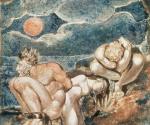Уильям Блейк (1757–1827). «Видения дочерей Альбиона». Фронтиспис. Около 1795. Бумага, монотипия, акварель, тушь, перо. 17 x 12. Галерея Тейт Бритен, Лондон
