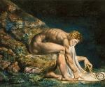 Уильям Блейк (1757–1827). Ньютон.  1795 – около 1805. Бумага, монотипия, акварель, тушь, перо. 46 x 60. Галерея Тейт Бритен, Лондон