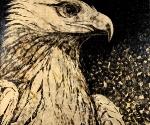 Алексей Беляев-Гинтовт. Золотой орел. Из серии «Земля». Автомобильная краска, типографская краска, ручная печать на холсте. 195x195 © Галерея «Триумф»