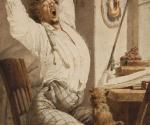 Зичи М. А. За чтением. Молодой человек (Утро). 1867