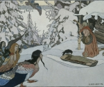 Билибин И. Я. Баба-Яга и девы-птицы. Иллюстрация к русской сказке. 1902