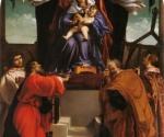 Лоренцо Лотто. Мадонна, коронуемая ангелами, с Младенцем и святыми Стефаном, Иоанном Евангелистом, Матфеем и   Лаврентием. 1538. Городская пинакотека, Анкона