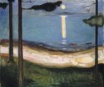 Эдвард Мунк. Лунный свет. 1895. Национальный музей Осло. Любимый мотив Мунка: планету, отраженную в воде золотой дорожкой, сегодня удалось увидеть с участием солнца.