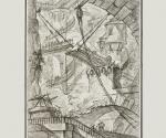 Джованни Баттиста Пиранези. Разводной мост. Лист из серии Carceri. I состояние. 1749-  1750. Офорт, резец