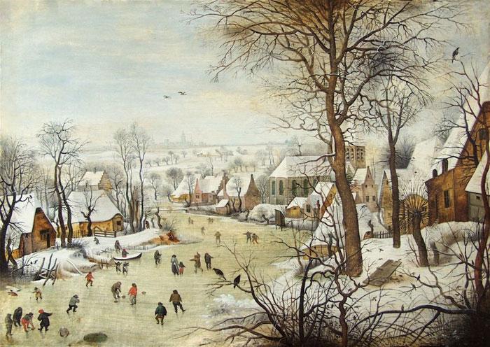 Галерея De Jonckheere. Питер Брейгель Младший. Зимний пейзаж с ловушкой для птиц