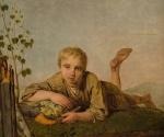 Один из признанных шедевров коллекции – картина Алексея Венецианова (1780-1847) «Пастушок с дудкой». 1820-е. Дерево, масло. 32,1х27