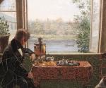 Фрагмент картины Ивана Клюквина «У товарища за самоваром. В Петергофе». 1837
