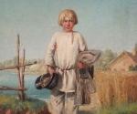 Неизвестный художник середины XIX века «Мальчик с бабками»