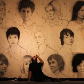 Фрагмент инсталляции «Лицо и Душа» в процессе работы над ней художника Омара Галльяни